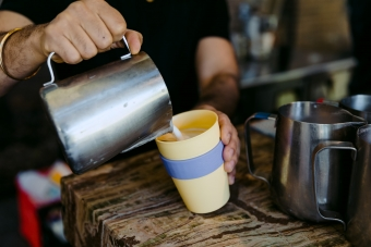 Pour your coffee into a reusable cup.