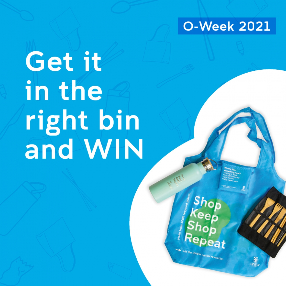 "White text on blue background ""Get it in the right bin and win"""